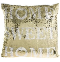 Bring a fabulous golden touch to your home interior with this reversible sequin cushion