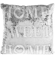 Add a glamorous shimmer to your home interior with this stylishly silver toned sequin covered cushion
