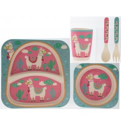 Covered in little colourful llamas, this pink and blue toned dinner set for children will be sure to make meal time fun!