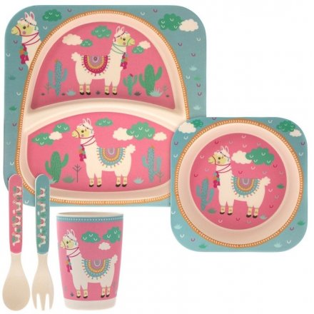 A dinner set for children with a sweet llama print design