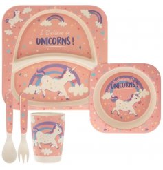 Covered in little colourful unicorns, this pink and purple toned dinner set for children will be sure to make meal time