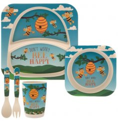 Covered in little yellow bees, this blue and green toned dinner set for children will be sure to make meal time fun!