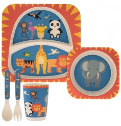 Covered in little zoo animals, this red, blue and yellow toned dinner set for children will be sure to make meal time f