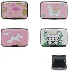 A fun assortment of Novelty themed credit card cases.