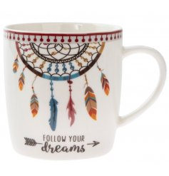 A colourful dreamcatcher mug with gift box. Complete with a follow your dreams sentiment.