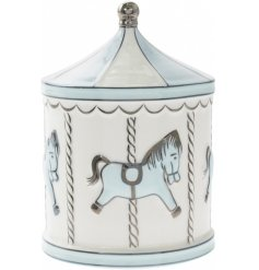 A Baby Blue & White Carousel Money Box