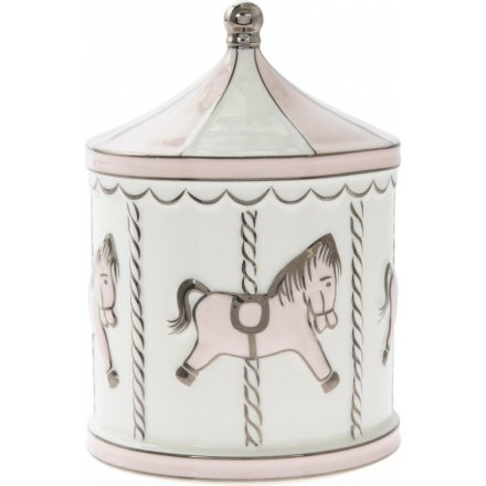 Baby Pink & White Carousel Money Box