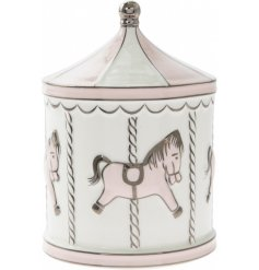 A Baby Pink & White Carousel Money Box