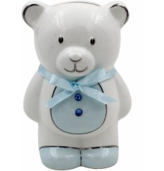 A Blue Ceramic Teddy Bear Money Bank