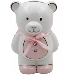 A Pink Ceramic Teddy Bear Money Bank