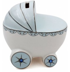 A Blue Ceramic Pram Money Bank