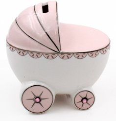 A Pink Ceramic Pram Money Bank