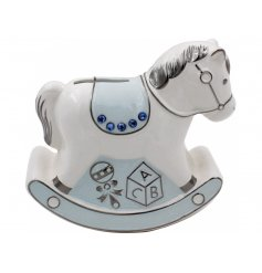 A Blue Ceramic Rocking Horse Money Bank