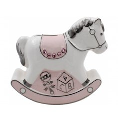 A Pink Ceramic Rocking Horse Money Bank