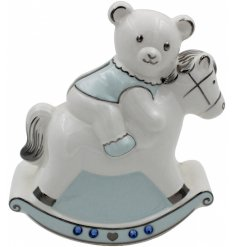 A Blue Teddy Bear & Rocking Horse Money Bank