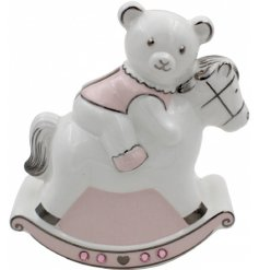 A Pink Teddy Bear & Rocking Horse Money Bank
