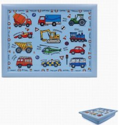 Covered in colourful illustrations of cars and trucks, this little plastic tray will be sure to entertain your little