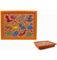 this dinosaur covered lap tray will be sure to keep your little ones entertained while they eat
