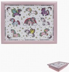 this unicorn covered lap tray will be sure to keep your little ones entertained while they eat