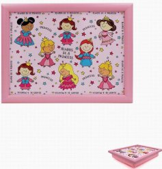 Covered in colourful illustrations of pretty princesses, this little plastic tray will be sure to entertain your little