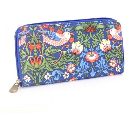 Navy Strawberry Thief Wallet, Large