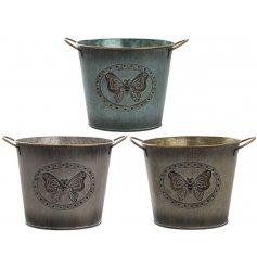 An assortment of 3 Large Metal Butterfly Planters