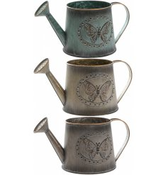 An assortment of 3 medium sized Metal Butterfly Watering Can