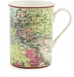 A fine china mug decorated with a smooth finished world map decal