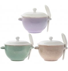 Bring an Earthen inspired touch to your kitchen sides with this beautiful assortment of coloured soup bowls and matchin