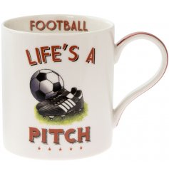 A quirky and comical fine china mug set with a football illustration and humorous 'Life's a Pitch' text