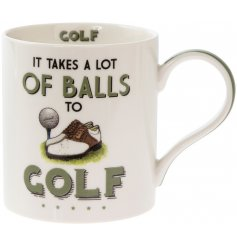 'It takes alot of balls to golf' a comical scripted fine china mug with a Golf themed illustration.