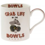 A quirky and comical fine china mug set with a Bowls illustration and humorous 'Grab life by the Bowls!' text