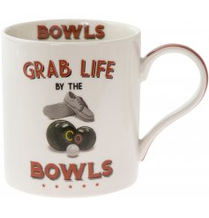 'Grab life by the bowls' a comical scripted fine china mug with a bowls themed illustration.