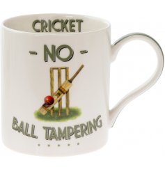 A quirky and comical fine china mug set with a Cricket illustration and humorous 'No Ball Tampering ' text