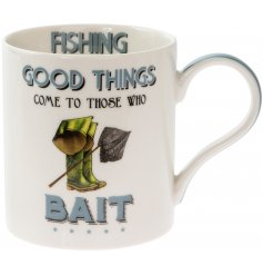 'Good things come to those who bait' a comical scripted fine china mug with a fishing themed illustration.