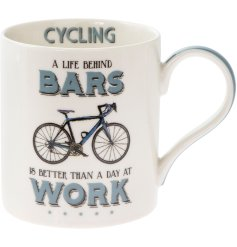 'Life behind bars is better than a day at work' a comical scripted fine china mug with a cycling themed illustration.