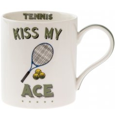 A quirky and comical fine china mug set with a Tennis illustration and humorous 'Kiss my ace ' text