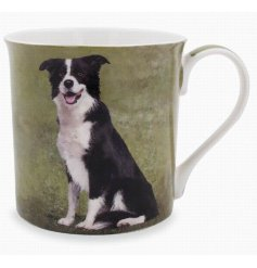 A beautifully printed mug featuring a portrait image of the well loved Collie Dog