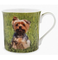 This adorable Yorkshire Terrier themed mug displays a sweet smiling portrait of a happy pup!