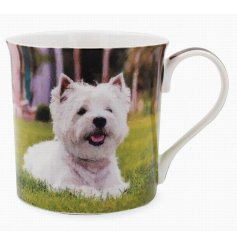 A beautifully printed mug featuring a portrait image of the well loved Westie