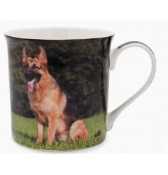 This adorable Alsatian themed mug displays a sweet smiling portrait of a happy pup!