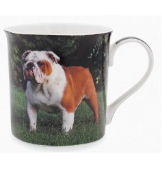 This adorable bulldog themed mug displays a sweet smiling portrait of a happy pup!