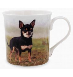 This adorable Chihuahua themed mug displays a sweet smiling portrait of a happy pup!