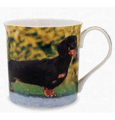 A beautifully printed mug featuring a portrait image of the well loved Dachshund