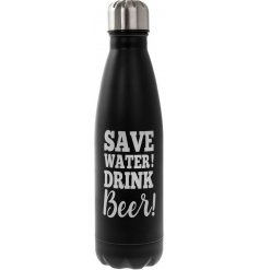 "this ""Save water! Drink Beer"" drinking bottle is perfect for any gym goer!"