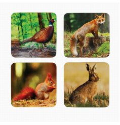 British wildlife lovers will appreciate this assortment of smooth coasters featuring a fox, hare, squirrel and pheasant.