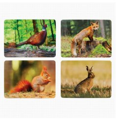 British wildlife lovers will appreciate this assortment of smooth surfaced placemats featuring a fox, hare, squirrel an