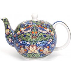 An elegant china teapot featuring an bright, colourful bird and intricate botanical print.