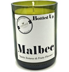 Let the tasty smell of a deliciously crisp Malbec wine seep into your home spaces with this vintage chic candle