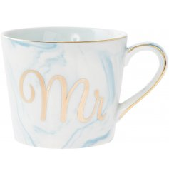 A beautifully designed Fine China Mug, perfectly set with a light blue marble effect glaze and added gold script 'Mr'
